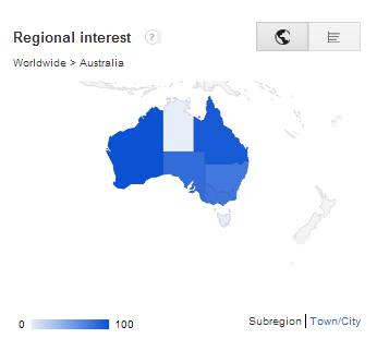 """Heatmap of searches for """"Training jobs"""" in Australia"""