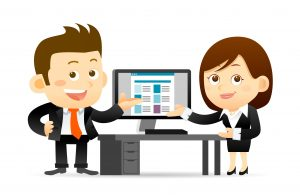 man and woman presenting using pictures and other multimedia