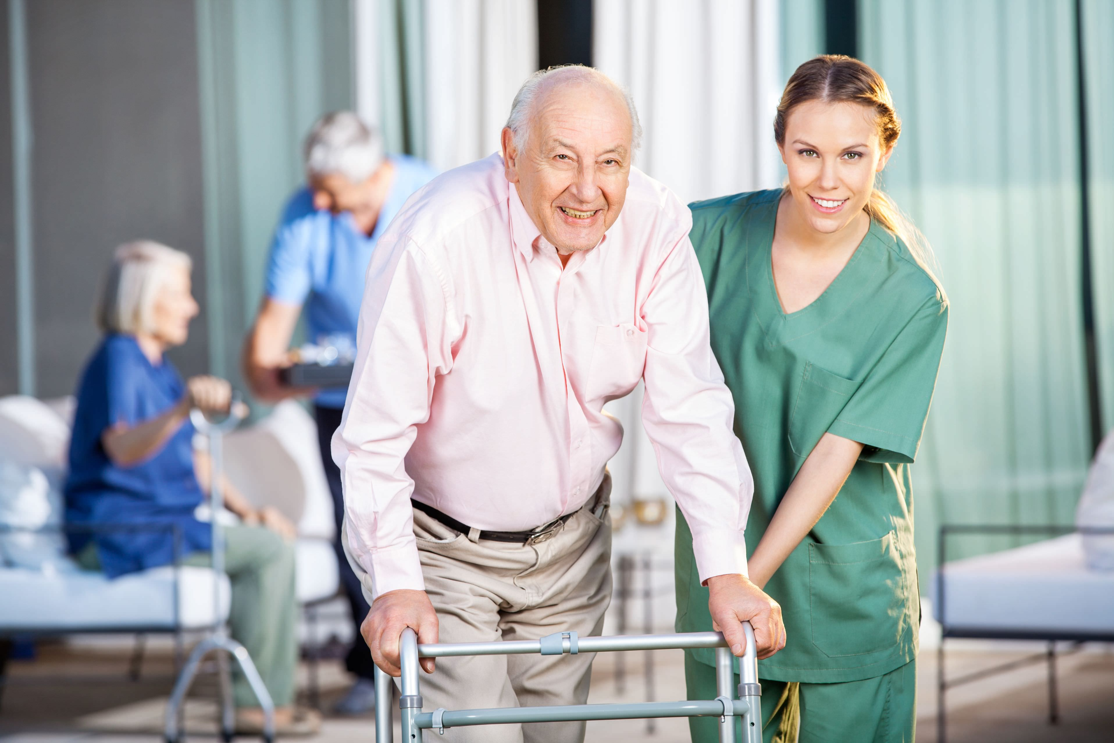 woman assisting aged care resident
